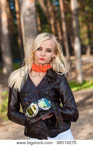 beautiful woman dressed as a pilot