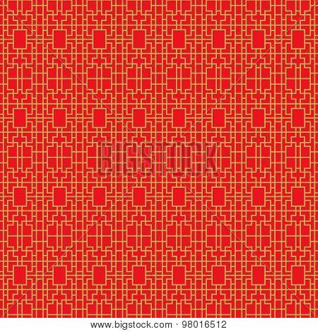Golden seamless vintage Chinese window tracery square geometry line cross pattern background.