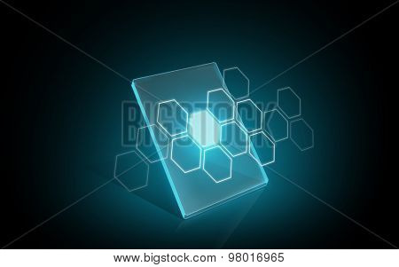 modern technology, network and futuristic concept - blank illuminating virtual tablet or digital screen with hexagonal pattern