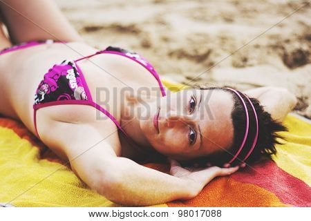 Woman On Beach Laying On Beach