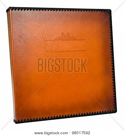 Brown Leather Photo Album Cover With Decorative Frame For Text