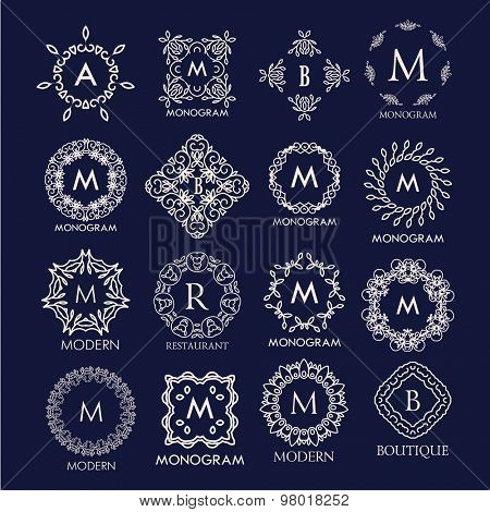 Set of luxury, simple and elegant  monogram designs. Good for labels and logos. Vector illustration.