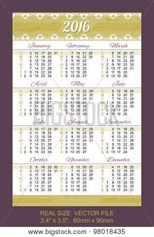 Pocket Calendar 2016, Vector, Start On Sunday
