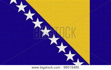 Flags Of Bosnia And Herzegovina With Abstract Textures. Rasterized