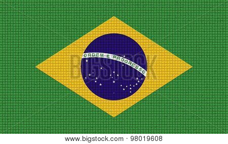 Flags Brazil With Abstract Textures. Rasterized