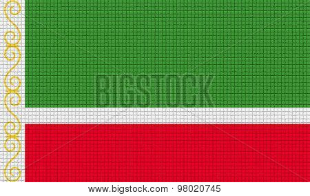 Flags Chechen Republic With Abstract Textures. Rasterized