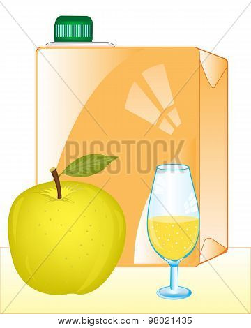 Packing of juice and apple