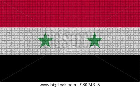 Flags Syria With Abstract Textures. Rasterized