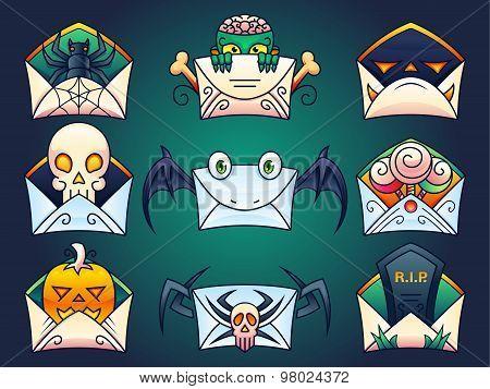 Halloween Mail Icons Set