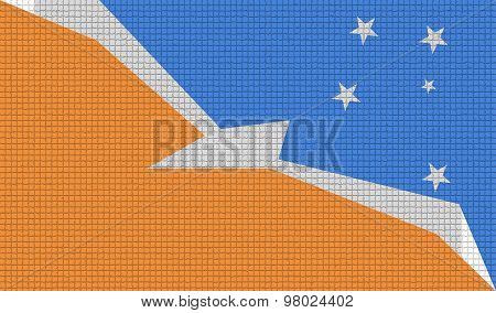 Flags Of Tierra Del Fuego Province With Abstract Textures. Rasterized