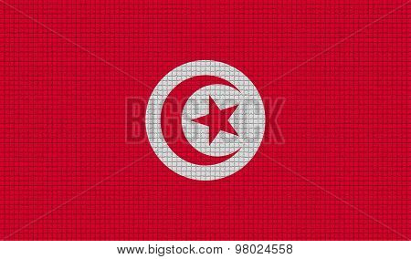 Flags Tunisia With Abstract Textures. Rasterized