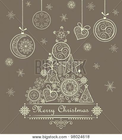 Vintage greeting card with xmas tree and hanging baubles