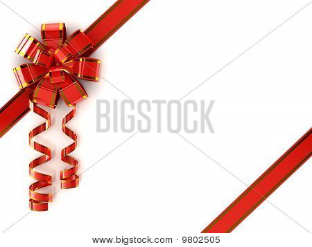 Red Ribbon Over White