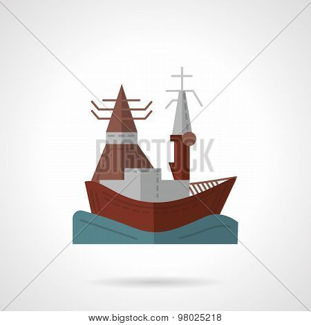 Sea port flat color vector icon