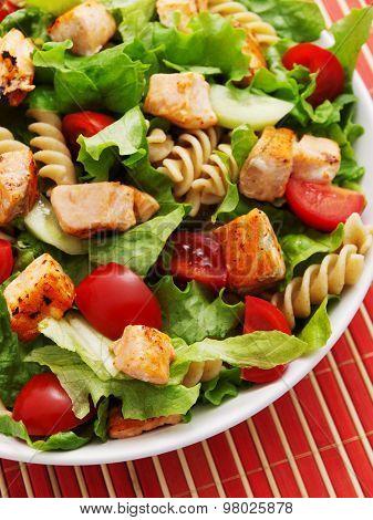 Salad With Salmon, Cherry Tomatos And Pasta