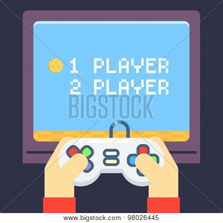 Retro Games Player Hands Joystick TV Monitor Screen Flat Icon Isolated Set Vector Illustration