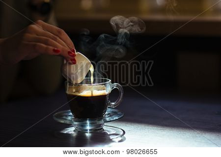 coffee with cream on table