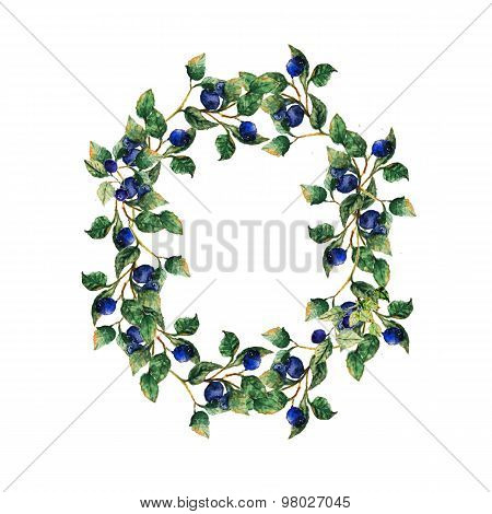 Hand drawn blueberry  wreath with leaves and berries. Creative design for card, save the dae, web de