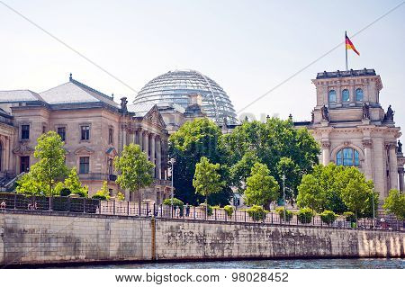 Reichstag building and Spree river in Berlin, Germany