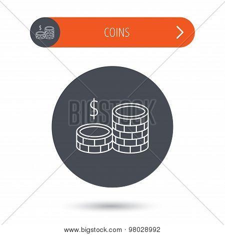 Coins icon. Dollar cash money sign.