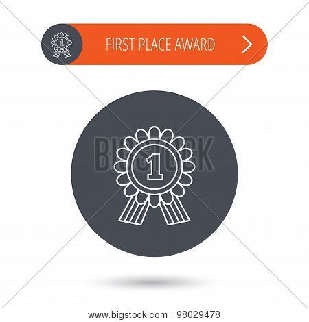 Gold medal award icon. First place sign.