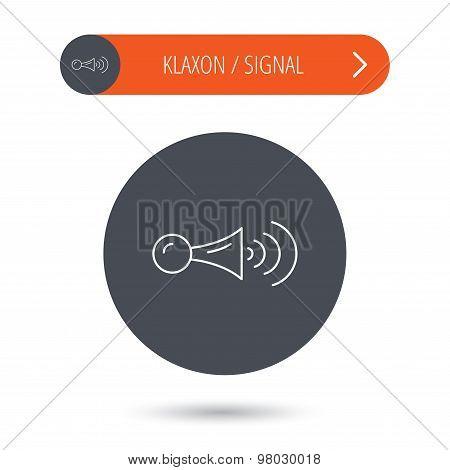 Klaxon signal icon. Car horn sign.
