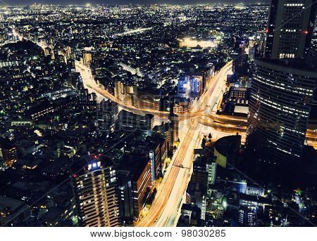 Tokyo Highway Junction From Above