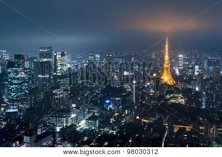 Tokyo From Above With Tokyo Tower In The Background