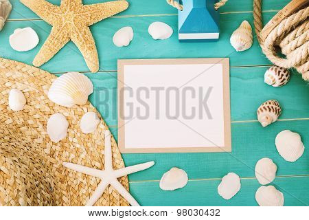 Blank Message Card With Sea Shells And Straw Hat