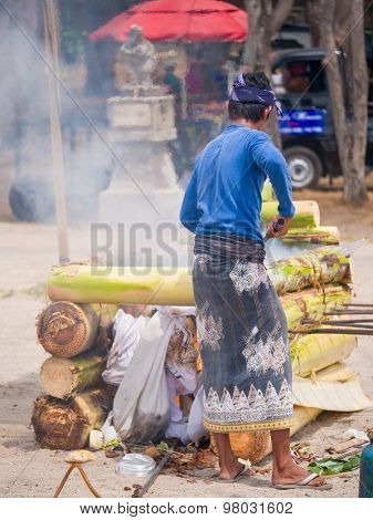 Cremation on the beach in Bali Kuta Indonesia