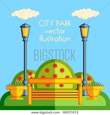 Flat vector illustration wooden benches with lanterns, flower beds and lawns.