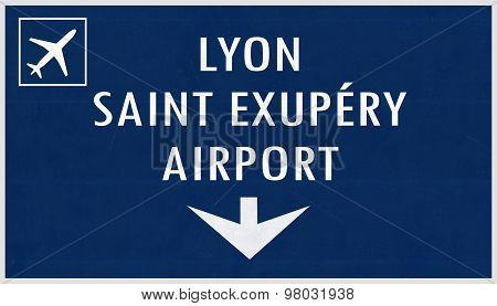 Lyon France Airport Highway Sign