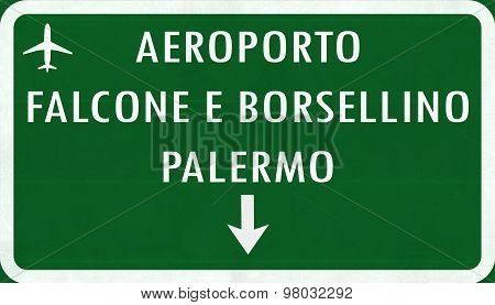 Palermo Italy Airport Highway Sign