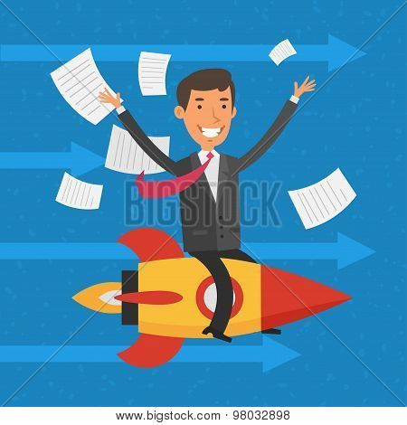 Businessman flying on rocket and waving hands
