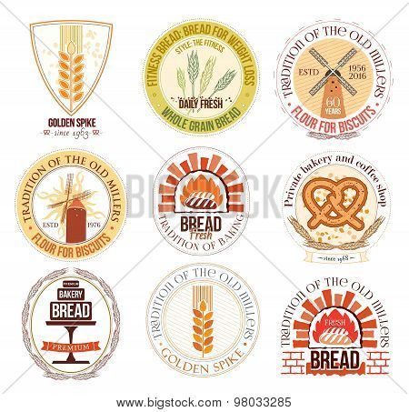 Set of bakery and wheat logo, labels and design elements.