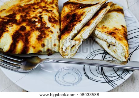 Pancakes with white cheese
