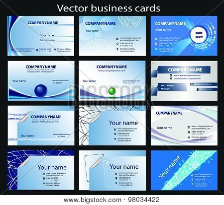 Set of 12 horizontal vector business cards templates