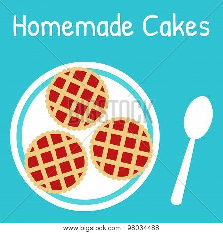 Fresh homemade cakes on the plate.