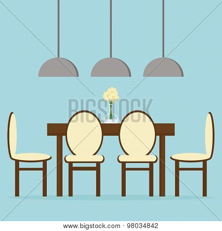 Modern dining room interior design with table, chairs and lamps.