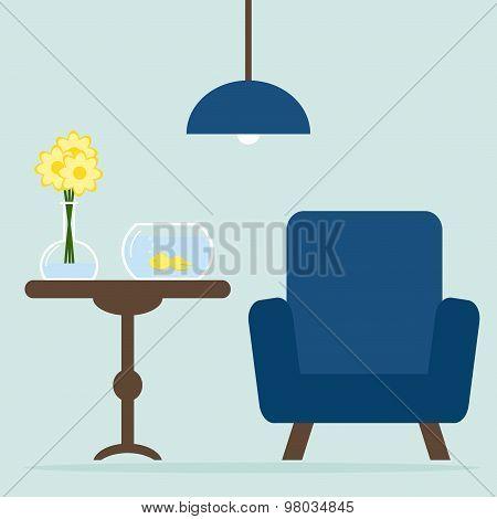 Modern living room interior design with armchair, table, aquarium. flowers.