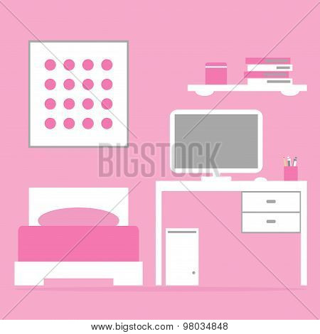 Girl bedroom interior with bed, table, computer in pink and white colors.