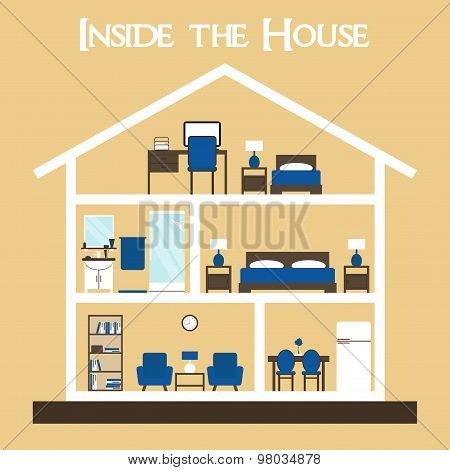 Flat style vector illustration house silhouette with furniture.