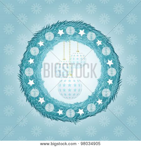 Blue Christmas Wreath With Baubles
