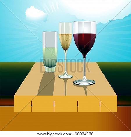 Drinks On The Table On A Sunny Day