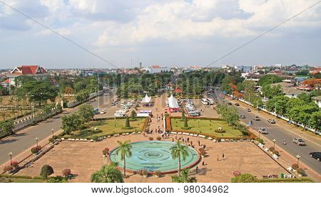 Patuxay park in Vientiane, view from the top of Victory Gate