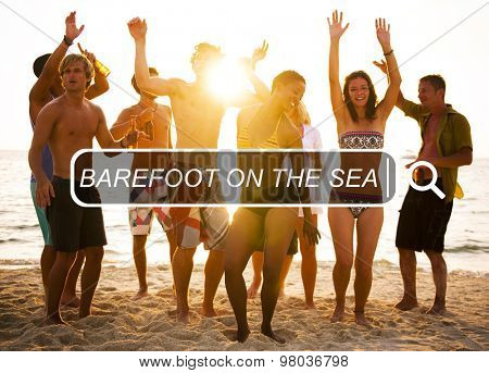 Barefoot On The Sea Relaxing Freedom Summer Concept
