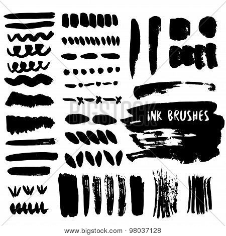 Set of grunge ink brush strokes. Vector design elements collection. Hand drawn black smear