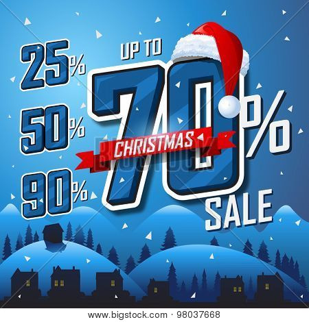 Christmas sale winter banner Vector sales discount percentage