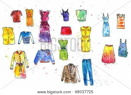 watercolor drawing women's dresses