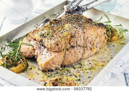 Salmon Steak in a Silver Tray